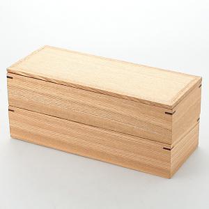 <集英社> 松屋漆器店 マツヤシッキテン 白木長角二段弁当箱 F画像