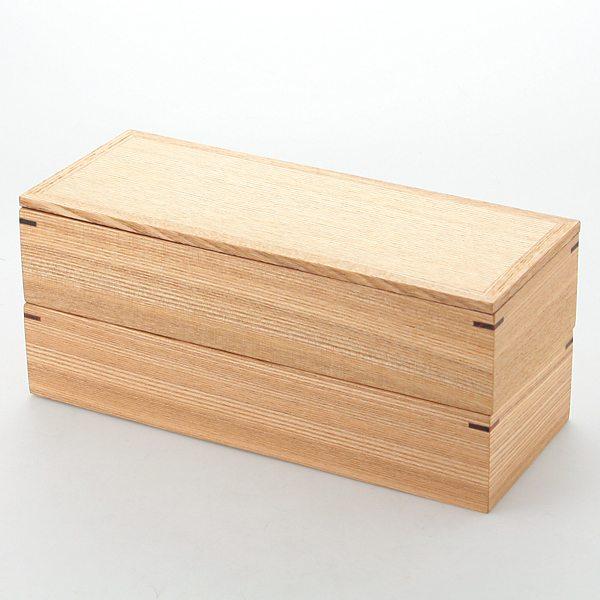 【コンビニ後払いOK】松屋漆器店 マツヤシッキテン 白木長角二段弁当箱 F