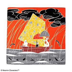 <集英社> MOOMIN TRIBUTE WORKS ムーミントリビュートワークス ムーミン ハンカチ「傘がない」 オレンジ画像
