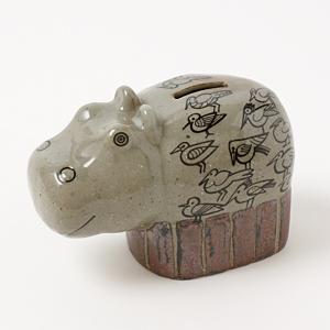 <集英社> LISA LARSON リサ ラーソン カバの貯金箱(波佐見焼) グレー(陶器) キッズ画像
