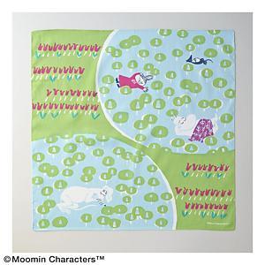 <集英社> MOOMIN TRIBUTE WORKS ムーミントリビュートワークス ムーミン ハンカチ「おひるね」 グリーン ピンク画像