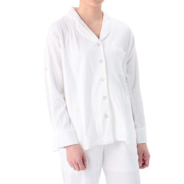 【コンビニ後払いOK】アウトレット gelato pique ジェラート ピケ 接結天竺 パジャマシャツ オフホワイト F レディース