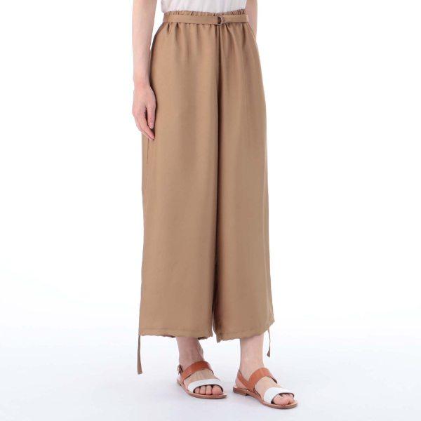 グリッターツイル裾ギャザークロップドパンツ ベージュ F レディース