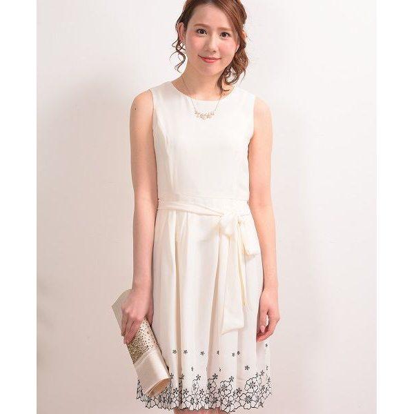 Dear Princess ディアプリンセス 裾 スカラップ刺繍 フレアーワンピース オフ S レディース
