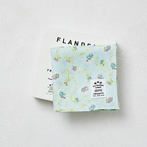 <集英社> FLANDERS LINEN PRODUCTS フランダースリネンプロダクツ フランダースリネンプリントBOXハンカチ(ローズの香りサシェ付き) リボンミント リボンホワイト画像