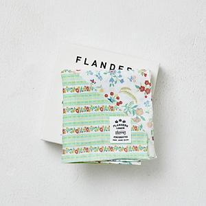 <集英社> FLANDERS LINEN PRODUCTS フランダースリネンプロダクツ フランダースリネンプリントBOXハンカチ(ローズの香りサシェ付き) ストライプグリーン ストライプイエロー画像