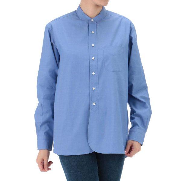 【送料無料】SCYEBASICS サイベーシックス 超長綿ピンオックスバンドカラーシャツ サックスブルー オフホワイト 38 40 レディース