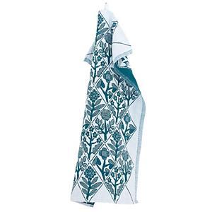 <集英社> LAPUAN KANKURIT ラプアンカンクリ 鹿児島睦×ラプアン カンクリ キッチンタオル 花々(KUKAT) ホワイト×ペトロリウム 48×70cm画像