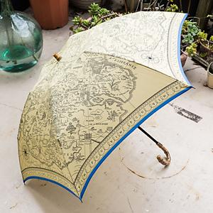 <集英社> manipuri マニプリ 晴雨兼用折り畳み傘(Map) ベージュ ライトブルー F レディース