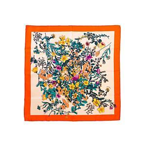 <集英社> manipuri マニプリ シルクスカーフ(Flower) オレンジ F レディース