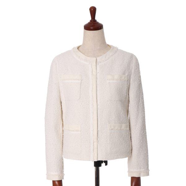7-ID concept. 7-IDコンセプト ノーカラーツィードジャケット オフホワイト 09 レディース