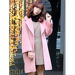 <集英社> dazzlin ダズリン シャギーミディアムコート ピンク S M レディース画像