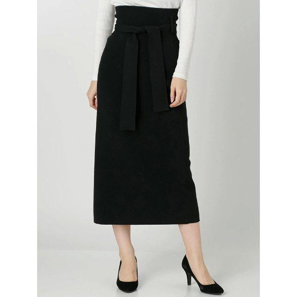 LAGUNAMOON ラグナムーン ハイツイストハイウエストKNITタイトスカート ブラック ベージュ M S レディース