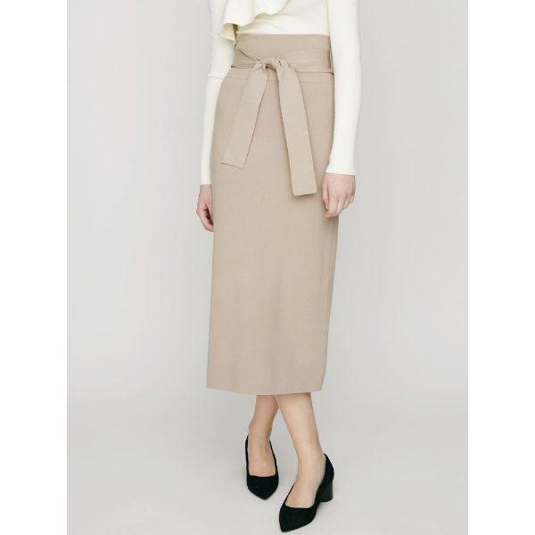 LAGUNAMOON ラグナムーン ハイツイストハイウエストKNITタイトスカート ベージュ ブラック S M レディース