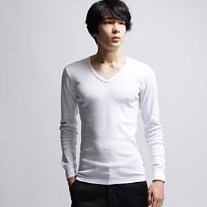 <集英社> アウトレット BASECONTROL ベースステーション baby rib V necklong t shirt ホワイト系 グレー系 ネイビー系 04(LL) 03(L) 01(S) メンズ画像