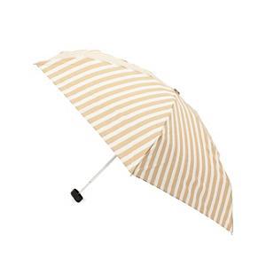 <集英社> grove グローブ リボンチャームストライプ晴雨兼用折りたたみ傘 ベージュ ブラック ネイビー レディース画像