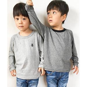 <集英社> HusHusH ハッシュアッシュ 【150cmまで】長袖Tシャツ2枚SET(ボーダー×無地) グレー チャコールグレー ネイビー 15(150cm) 80(80cm) 10(100cm) キッズ画像