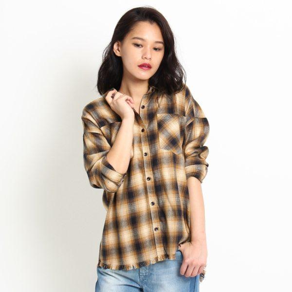 アウトレット OZOC オゾック 裾ほぐしチェックシャツ ブラウン 38(M) レディース