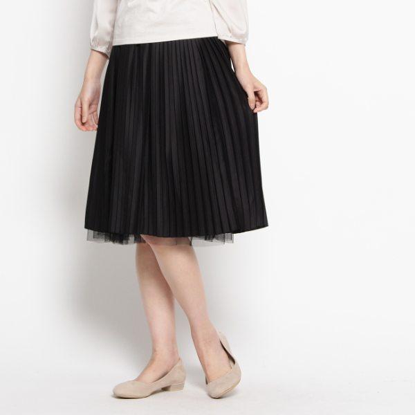プリーツ×チュールリバーシブルスカート ブラック 09(M) レディース