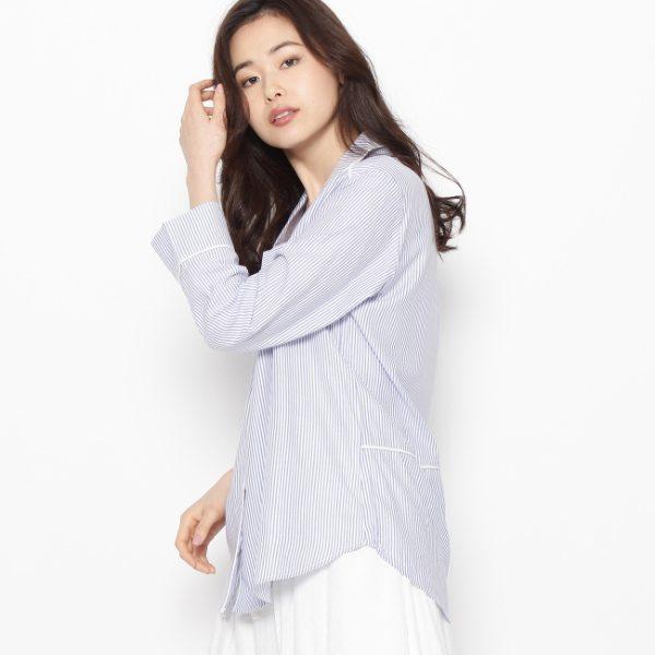 HusHusH ハッシュアッシュ パイピングシャツ ブルー系 ブルー系 ブルー 02(M) 03(L) レディース