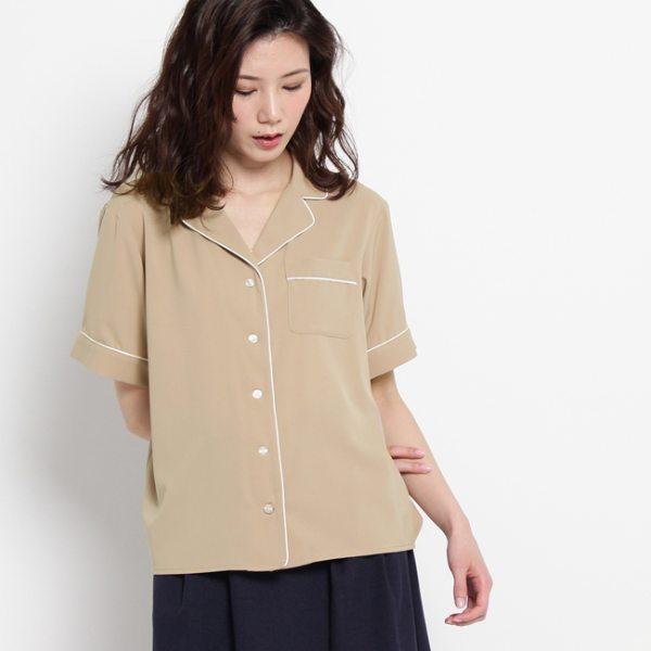 AG by aquagirl エージーバイアクアガール パジャマ風パイピングシャツ サンドベージュ レッド 38(M) レディース