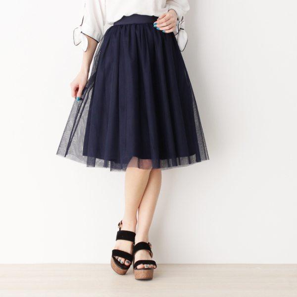 メモリー×チュールリバーシブルスカート ネイビー カーキ ベージュ 03(L) 02(M) レディース