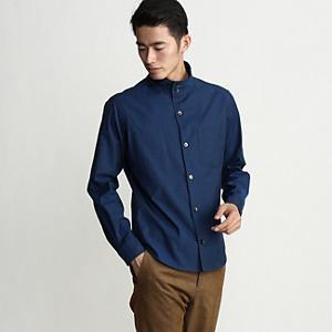 <集英社> TAKEO KIKUCHI タケオキクチ シャンブレースタンドカラーシャツ ブルー 03(L) 04(LL) メンズ画像