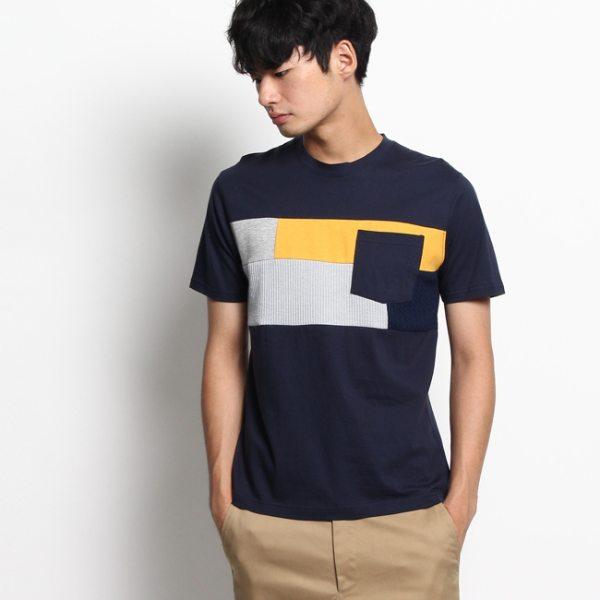 Dessin デッサン ファブリック切替Tシャツ ネイビー ホワイト 02(M) 03(L) メンズ