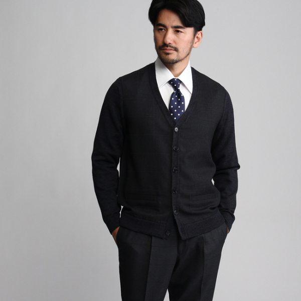 【コンビニ後払いOK】TAKEO KIKUCHI タケオキクチ 絣格子ニットカーディガン【Product Notes Japan】 チャコールグレー ブルー系 04(LL) 02(M) 03(L) メンズ