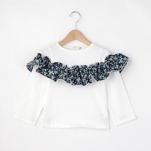 <集英社> THE SHOP TK ティーケー サップキッド 胸フリル長袖プルオーバー オフホワイト パープル系 11(110cm) 12(120cm) キッズ画像