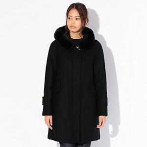 <集英社> SANYO サンヨー 【Rain Wool】Super180'Sフーデッドダウンコート ブラック 40 レディース画像