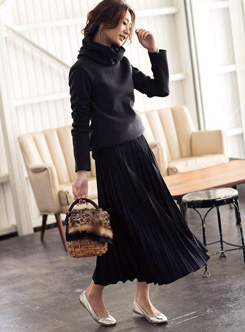 【使える】ロングプリーツスカート