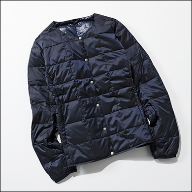 【洗えるインナーダウン】CREW NECK BUTTON DOWN JACKET
