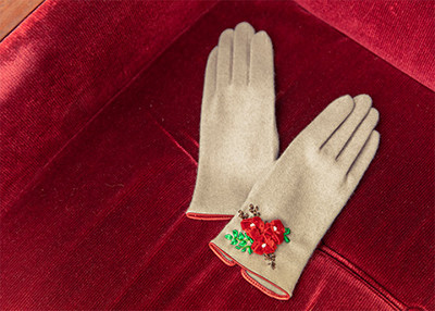 立体リボン刺繍 手袋