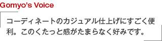 Gomyo's Voice コーディネートのカジュアル仕上げにすごく便利。このくたっと感がたまらなく好みです。