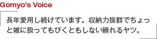Gomyo's Voice 長年愛用し続けています。収納力抜群でちょっと雑に扱ってもびくともしない頼れるヤツ。