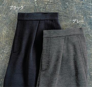 圧縮ニットテーパードパンツ ブラック/グレー