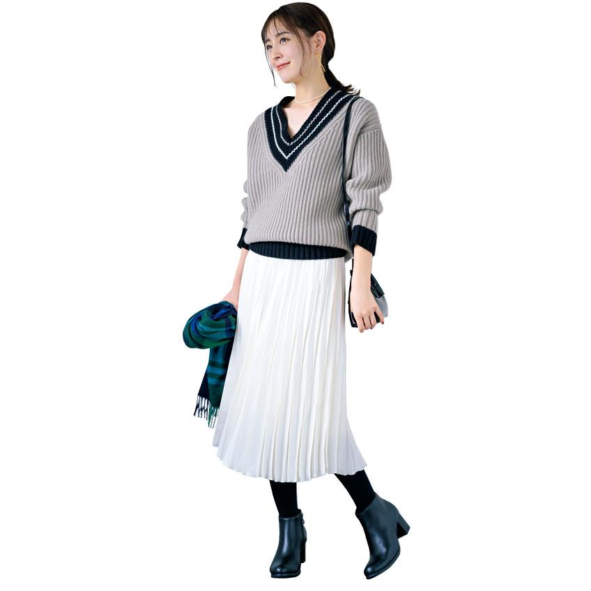 【12closet】プリーツギャザースカート ミディ丈(76cm丈)