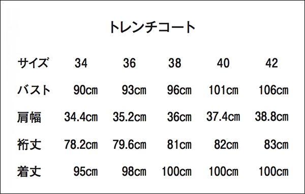 サイズ表(ダブルトレンチコート/SANYOCOAT)