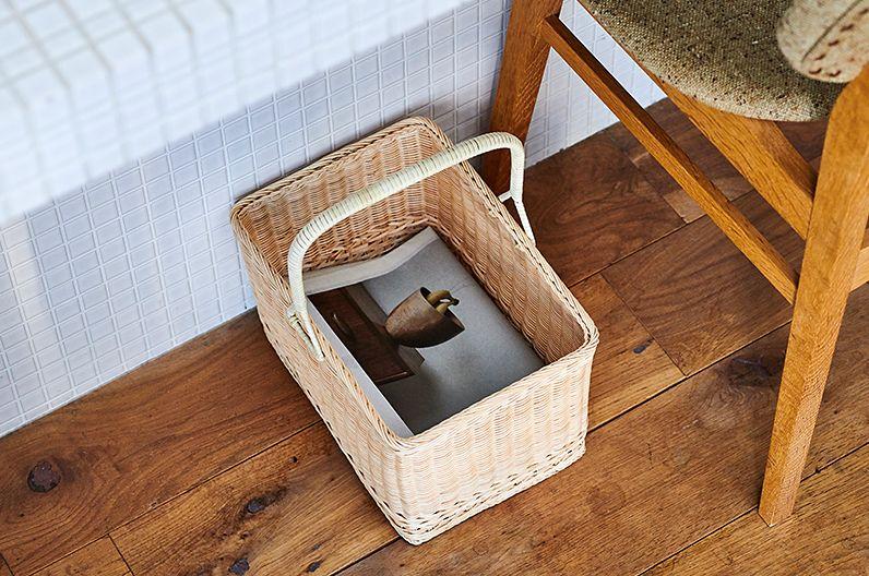 【インテリア雑貨特集】 松野屋 籐一本手買物かご | 新聞や雑誌の収納や買物かごとして使える無駄のない角型のかご