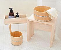 【インテリア雑貨特集】ambai 風呂椅子 | 木の温もりあふれる木曽サワラの手桶や湯桶