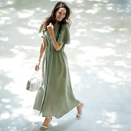 涼やかリネンと美シルエットで着映える、大人のロングドレス リネン前あきロングドレス