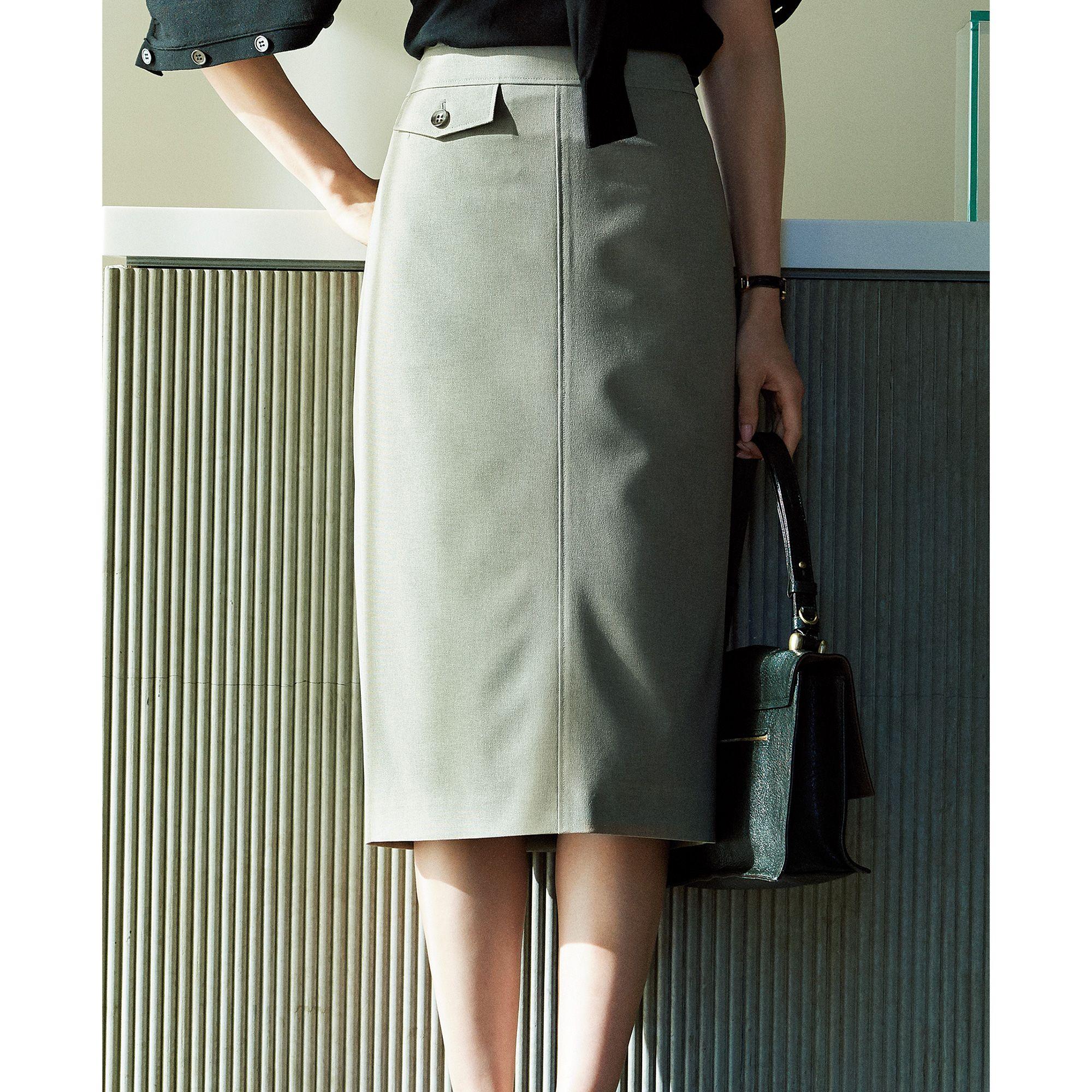 M7days for officeエムセブンデイズフォーオフィス/リネン風タイトスカート