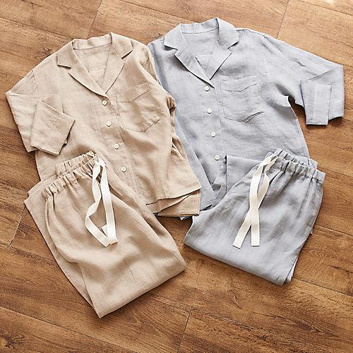 マスターオブリネンの称号をもちベルギーリネンの中でも高い品質を維持するLIBECO社製リネン地のパジャマ ベルギーリネン パジャマジャケット&パンツ