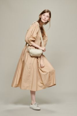 """MONTAGUE""PLEATED MIDI DRESS WITH KNIFE PLEATS PUFF SLEEVES AND BUTTON"