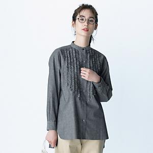 【石上美津江さんコラボ】【洗える】ギャザースリーブTシャツ ¥9,790