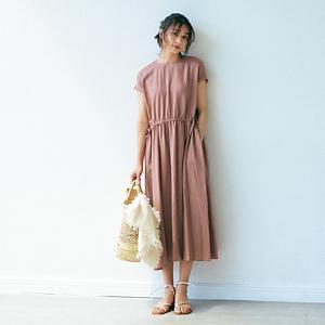 【徳永千夏さんコラボ】【洗える】Vネックコットンワンピース