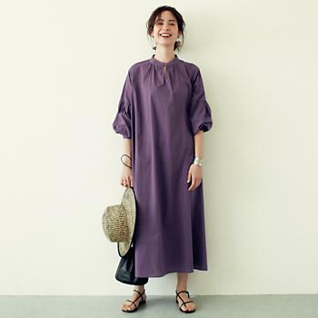 【洗える】バンドカラー コットンワンピース/12closet