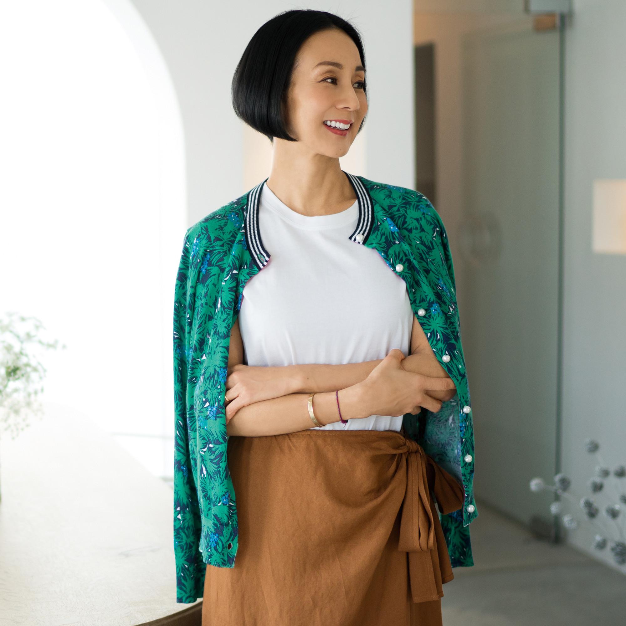 50代 ファッション お手本 カーディガン