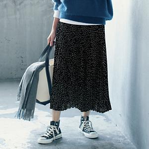 【洗える】ドットプリーツスカート¥12,000+税